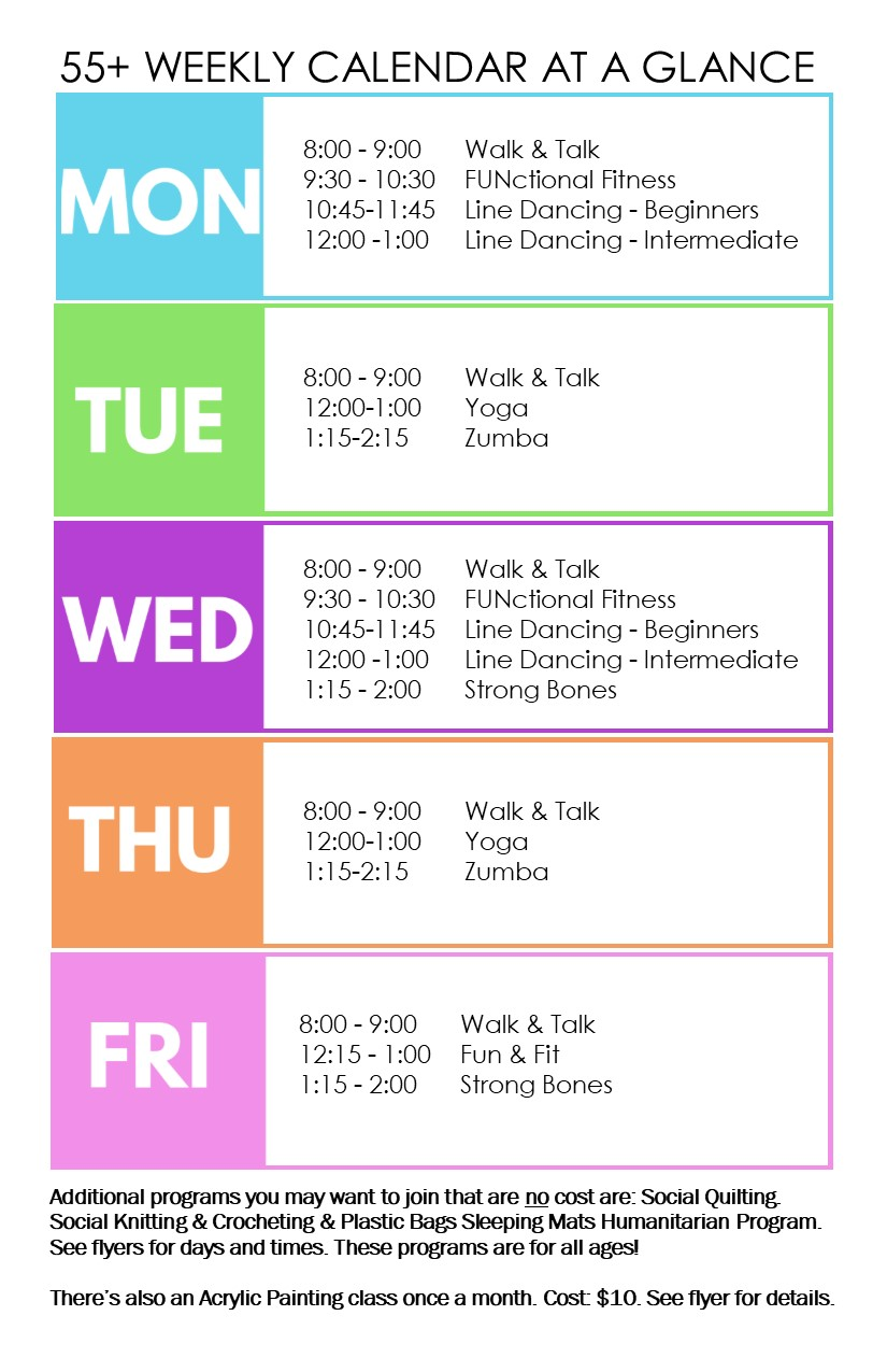 Weekly 55+ class schedule