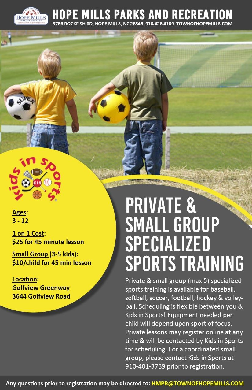 Private and Small Group Specialized Sports Training Flyer