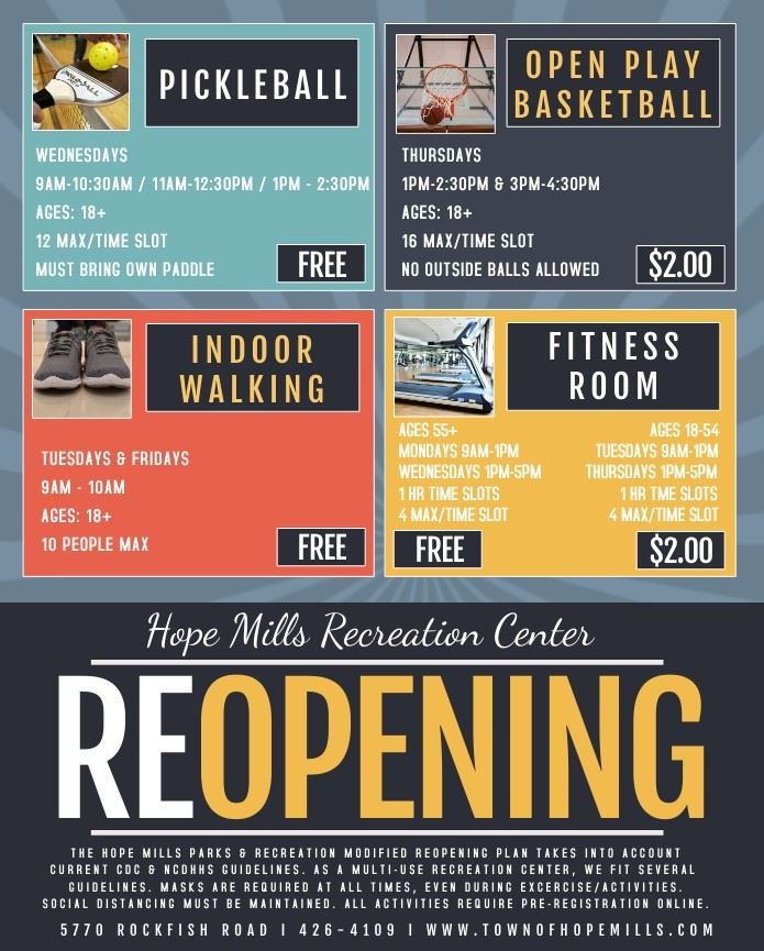 Rec Center Reopening Flyer April 2021