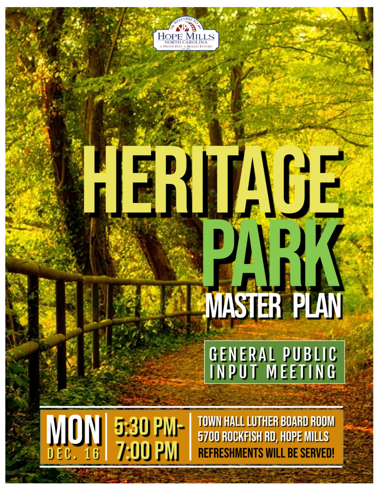 Heritage Park Meeting Master Plan - General Public Input Meeting